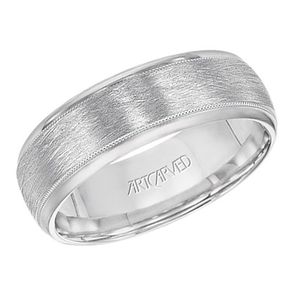 8mm wide comfort fit engraved wedding band with satin finish - Wedding Rings For Him